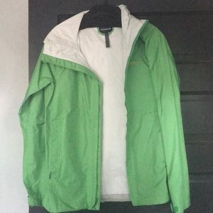 Line green Patagonia raincoat